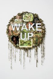 Tony Albert Wake Up 2015 assemblage made up of reworked objects fabric and twine 120 x 120 x 8 cm 1