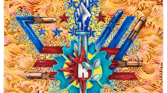 eX de Medici Big Weapons 2014 15 watercolour on paper 114 x 110cm