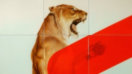 Sam Leach Lioness with Colour Terms 2014 oil and resin on wood 12 panels each 50 x 50cm 200 x 150cm overall copy
